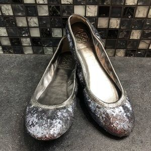 Tory Burch Silver sparkly flats